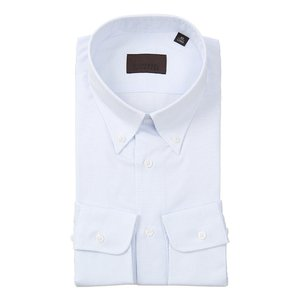 ドレスシャツ/長袖/メンズ/COOL MAX/ボタンダウンカラードレスシャツ グラフチェック ホワイト×サックスブルー uktsc