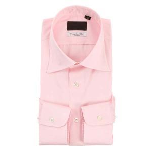 ドレスシャツ/長袖/メンズ/ワイドカラードレスシャツ 無地 /Fabric by Albini/ ピンク uktsc