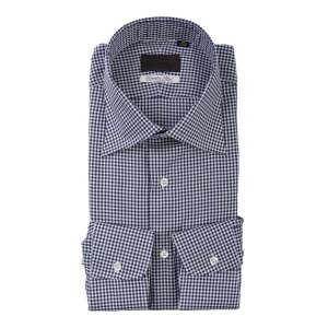 ドレスシャツ/長袖/メンズ/ワイドカラードレスシャツ ギンガムチェック /Fabric by Albini/ ネイビー×ホワイト uktsc