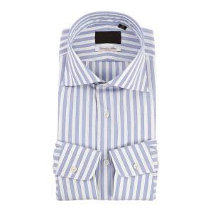 ドレスシャツ/長袖/メンズ/ホリゾンタルカラードレスシャツ ロンドンストライプ /Fabric by Albini/ ホワイト×ブルー×ネイビー uktsc