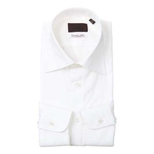 ドレスシャツ/長袖/メンズ/ワイドカラードレスシャツ シャドーストライプ /Fabric by Albini/ ホワイト uktsc