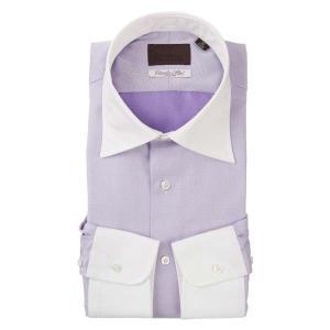 ドレスシャツ/長袖/メンズ/クレリック&ワイドカラードレスシャツ 織柄 /Fabric by Albini/ ホワイト×パープル uktsc