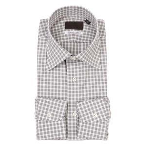 ドレスシャツ/長袖/メンズ/ワイドカラードレスシャツ ギンガムチェック /Fabric by Albini/ ブラウン×ホワイト uktsc