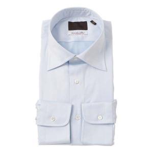 ドレスシャツ/長袖/メンズ/ワイドカラードレスシャツ 織柄 /Fabric by Albini/ サックスブルー×ホワイト uktsc
