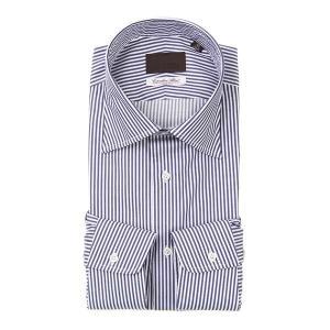 ドレスシャツ/長袖/メンズ/ワイドカラードレスシャツ ストライプ /Fabric by Albini/ ネイビー×ホワイト uktsc