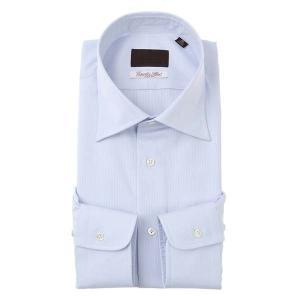 ドレスシャツ/長袖/メンズ/ワイドカラードレスシャツ ストライプ×織柄/Fabric by Albini/ サックスブルー×ホワイト uktsc