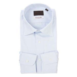 ドレスシャツ/長袖/メンズ/ワイドカラードレスシャツ 織柄/Fabric by Albini/ サックスブルー|uktsc