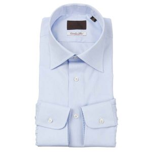 ドレスシャツ/長袖/メンズ/ワイドカラードレスシャツ 織柄/Fabric by Albini/ サックスブルー×ホワイト uktsc