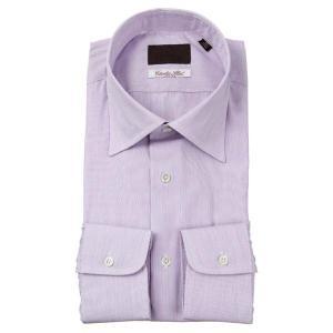 ドレスシャツ/長袖/メンズ/ワイドカラードレスシャツ ストライプ柄/Fabric by Albini/ パープル×ホワイト|uktsc