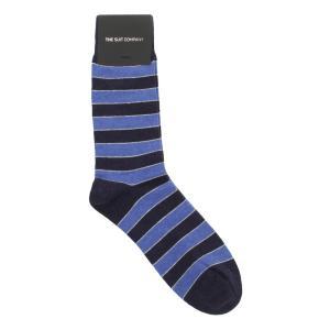 ソックス/靴下/カジュアル/メンズ/フリーサイズ/ボーダー柄ソックス ネイビー×ブルー×グレー|uktsc