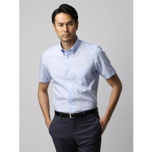 ドレスシャツ/半袖/メンズ/半袖・COOL MAX/ボタンダウンカラードレスシャツ ストライプ ブルー×ホワイト|uktsc