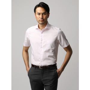 ドレスシャツ/半袖/メンズ/半袖・COOL MAX/ホリゾンタルカラードレスシャツ ピンドット ホワイト×ピンク|uktsc