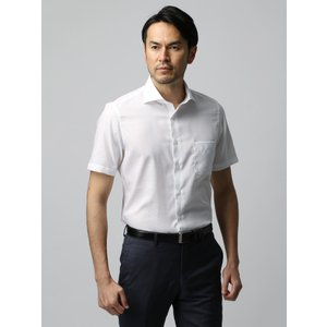 ドレスシャツ/半袖/メンズ/半袖・COOL MAX/ホリゾンタルカラードレスシャツ 織柄 ホワイト|uktsc