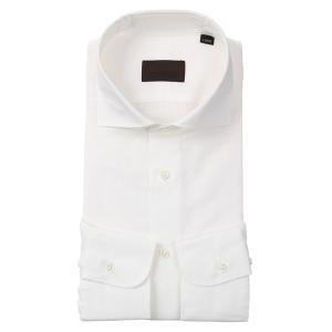 ドレスシャツ/長袖/メンズ/JAPAN FABRIC/リネンブレンド/ホリゾンタルカラードレスシャツ 無地 ホワイト|uktsc