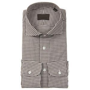 ドレスシャツ/長袖/メンズ/JAPAN FABRIC/リネンブレンド/ホリゾンタルカラードレスシャツ ギンガムチェック ブラウン×ホワイト|uktsc