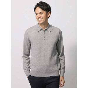 ポロシャツ/メンズ/キャッシュウールニットポロシャツ/Fabric by ZEGNA BARUFFA/ グレー uktsc
