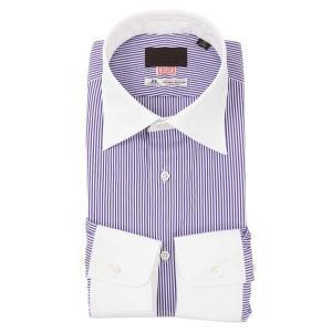 ドレスシャツ/長袖/メンズ/HAND MADE/クレリック&ワイドカラードレスシャツ/THOMAS MASON/ パープル×ホワイト|uktsc