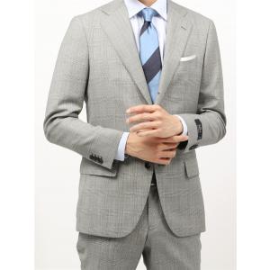 ビジネススーツ/メンズ/春夏/BASIC 3つボタンスーツ グレンチェック TR-12 ライトグレー×ブラック×サックスブルー|uktsc