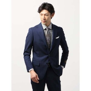 ビジネススーツ/メンズ/春夏/BASIC 3つボタンスーツ 織柄 TR-12 ネイビー×ブルー|uktsc