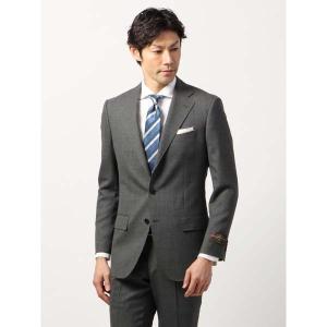 ビジネススーツ/メンズ/春夏/BASIC 3つボタンスーツ 織柄 TR-12 ミディアムグレー×ライトグレー|uktsc