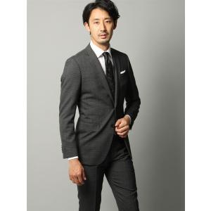 ビジネススーツ/メンズ/春夏/FIT 2つボタンスーツ マイクロチェック NR-05 ミディアムグレー×ブラック|uktsc