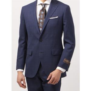 ビジネススーツ/メンズ/春夏/FIT 2つボタンスーツ チェック CH-14 ブルー×ブラック|uktsc