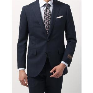 ビジネススーツ/メンズ/春夏/FIT 2つボタンスーツ チェック CH-14 ネイビー×ブルー|uktsc