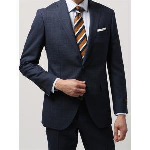 ビジネススーツ/メンズ/春夏/FIT 2つボタンスーツ マイクロチェック CH-14 ネイビー×ブルー|uktsc