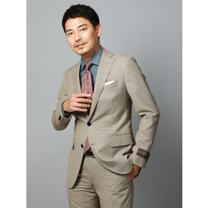 ビジネススーツ/メンズ/春夏/FIT 2つボタンスーツ マイクロチェック CH-14 ベージュ×クリーム×オレンジ|uktsc