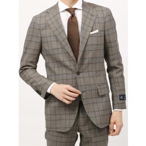 ビジネススーツ/メンズ/春夏/BASIC 3つボタンスーツ グレンチェック TR-12 ベージュ×ブラウン|uktsc