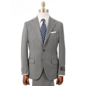ビジネススーツ/メンズ/通年/3つボタンスーツ ピンストライプ TR-12 ライトグレー×ホワイト|uktsc
