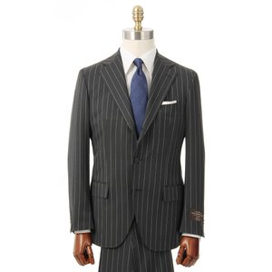 ビジネススーツ/メンズ/通年/3つボタンスーツ ピンストライプ TR-12 チャコールグレー×ホワイト|uktsc