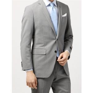 ビジネススーツ/メンズ/春夏/TOUGH MAX/FIT 2つボタンスーツ マイクロチェック NR-05 ライトグレー×ミディアムグレー|uktsc