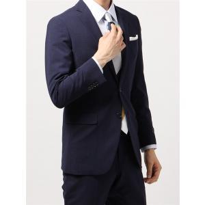 ビジネススーツ/メンズ/春夏/TOUGH MAX/FIT 2つボタンスーツ マイクロチェック NR-05 ネイビー×ブルー|uktsc