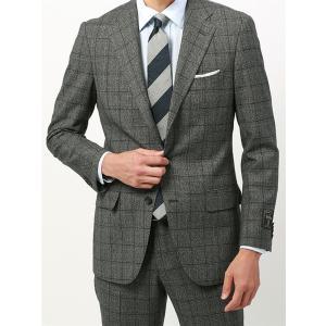 ビジネススーツ/メンズ/秋冬/BASIC 3つボタンスーツ グレンチェック TR-15 ミディアムグレー×ブラック×ブルー|uktsc
