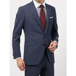 ビジネススーツ/メンズ/通年/T TRAVEL/FIT 2つボタンスーツ グレンチェック CH-14 ブルー×ネイビー×レッド|uktsc