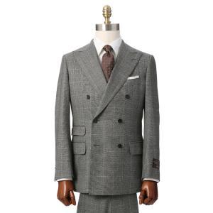 ビジネススーツ/メンズ/秋冬/ダブルブレストスーツ ウインドーペーン TR-17 ミディアムグレー×ベージュ|uktsc