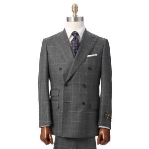 ビジネススーツ/メンズ/秋冬/ダブルブレストスーツ ウインドーペーン TR-17 チャコールグレー×ブルー|uktsc