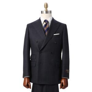 ビジネススーツ/メンズ/秋冬/ダブルブレストスーツ ウインドーペーン TR-17 ネイビー×ブラウン|uktsc