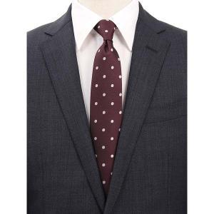 ネクタイ/レギュラータイ/メンズ/セッテピエゲ/ドット×織柄ネクタイ ワイン×ピンク uktsc