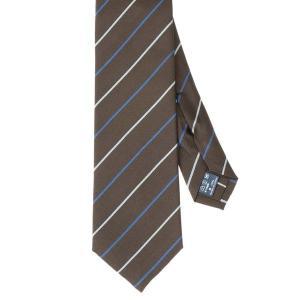 ネクタイ/レギュラータイ/メンズ/セッテピエゲ/ストライプ柄ネクタイ ブラウン系|uktsc
