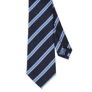 ネクタイ/レギュラータイ/メンズ/セッテピエゲ/ストライプ柄ネクタイ ネイビー系 uktsc