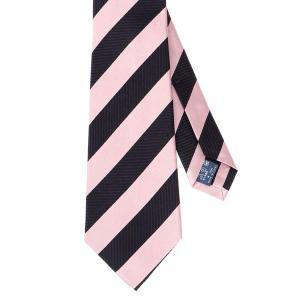 ネクタイ/レギュラータイ/メンズ/セッテピエゲ/ストライプ×織柄ネクタイ ピンク系|uktsc