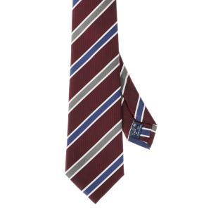 ネクタイ/レギュラータイ/メンズ/セッテピエゲ/ストライプ×織柄ネクタイ レッド系 uktsc