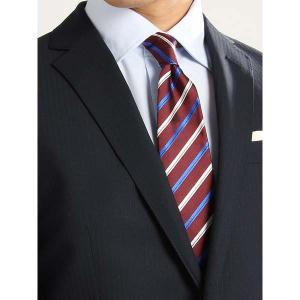 ネクタイ/レギュラータイ/メンズ/セッテピエゲ/ストライプ×織柄ネクタイ エンジ×ブルー×ホワイト uktsc