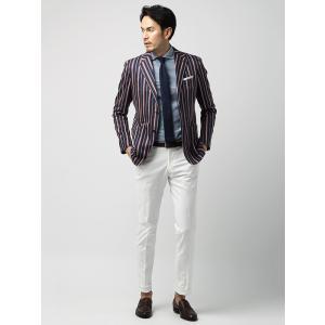 ビジネスジャケット/メンズ/春夏/ETONNE/ボールドストライプ柄ジャケット/Fabric by MANNELLI/ ネイビー系|uktsc