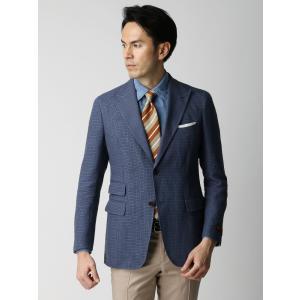 ビジネスジャケット/メンズ/春夏/ETONNE/リネンコットン マイクロチェックジャケット/Fabric by LEOMASTER/ ブルー×ネイビー×ブラウン|uktsc