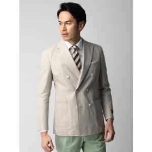 ビジネスジャケット/メンズ/春夏/ETONNE/リネンコットン ダブルブレストジャケット/Fabric by MARZOTTO/ ベージュ×ホワイト|uktsc