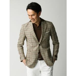ビジネスジャケット/メンズ/春夏/ETONNE/リネンコットン ガーデンチェックジャケット/Fabric by LEOMASTER/ ベージュ×グリーン×ブラウン|uktsc