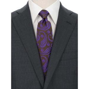 ネクタイ/レギュラータイ/メンズ/ペイズリー×織柄ネクタイ/Fabric by VANNERS/ ブラウン系|uktsc